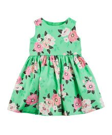 Carter's Floral Sateen Dress - Green