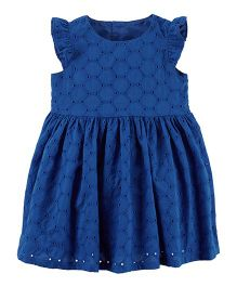 Carter's Embroidered Eyelet Dress - Royal Blue
