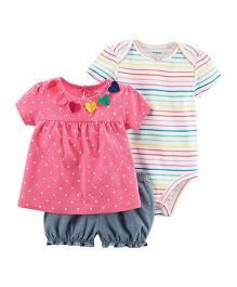 Carter's 3-Piece Bodysuit & Diaper Cover Set - Pink