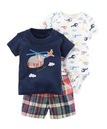 Carter's 3-Piece Little Short Set - Navy Blue & White