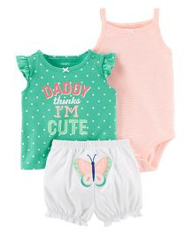 Carter's 3-Piece Bodysuit & Diaper Cover Set - Green Peach