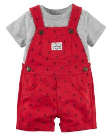Carter's 2-Piece Tee & Shortalls Set - Red & Grey