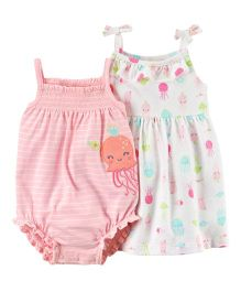 Carter's 2 Piece Dress & Romper Set - White Pink