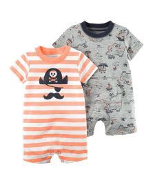 Carter's 2 Pack Rompers - Orange Grey