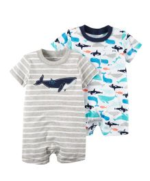 Carter's 2-Pack Rompers - Grey White