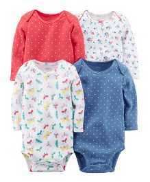 Carter's Long-Sleeve Printed Bodysuits Pack of 4 - Multi Color