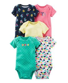 Carter's 5-Pack Short-Sleeve Bodysuits - Navy Multi Color