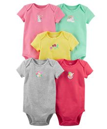 Carter's Short Sleeves Bodysuits Bunny & Bird Print Pack Of 5 - Multicolor
