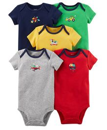 Carter's Short Sleeves Printed Bodysuits Pack Of 5 - Multicolor