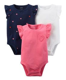 Carter's 3-Pack Heart Flutter-Sleeve Bodysuits - Pink Navy White
