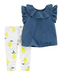 Carter's  2-Piece Flutter Chambray Top & Lemon Legging Set - Blue White