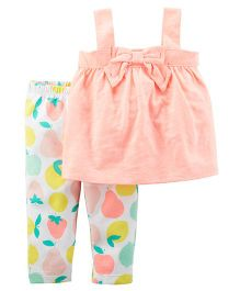 Carter's 2-Piece Bow Tank & Fruit Legging Set - Pink