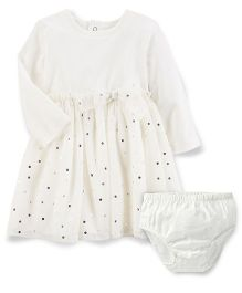Carter's Long Sleeve Polka Dot Tulle Dress - Off White