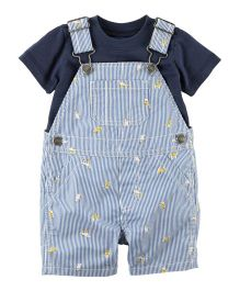 Carter's 2-Piece Jersey Tee & Puppy Shortall Set - Navy & Light Blue