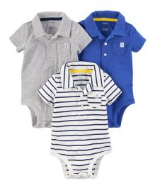 Carter's 3-Pack Polo Bodysuits - White Blue Grey