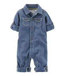 Carter's Little Captain Chambray Romper - Blue