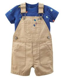 Carter's 2-Piece Tee & Shortall Set - Light Brown And Blue