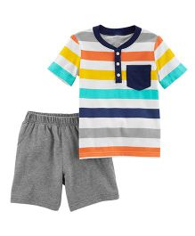2-Piece Jersey Tee & French Terry Short Set - Grey Multicolour
