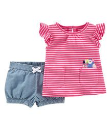 Carter's 2-Piece Striped Flutter Top & Chambray Short Set - Pink Blue