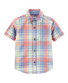 Carter's Plaid Poplin Button-Front Shirt - Orange Blue