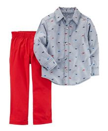 Carter's 2-Piece Button-Front Top & Canvas Pant Set - Blue Red