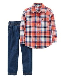 Carter's 2-Piece Plaid Shirt & Denim Pant Set - Orange Blue