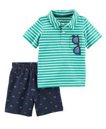 Carter's 2-Piece Polo & French Terry Short Set - Green Blue
