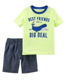 2-Piece Neon Jersey Tee & Chambray Short Set - Yellow Blue