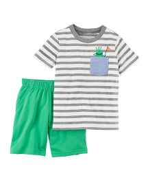 Carter's 2-Piece Jersey Tee & French Terry Short Set - Green Grey