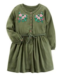 Carter's Embroidered Sateen Dress - Olive Green