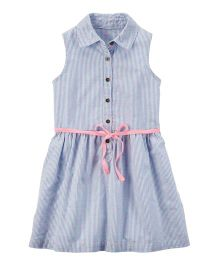 Carter's Button-Front Embroidered Dress - Blue