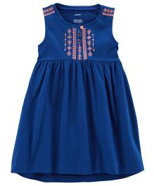 Carter's Embroidered Crinkle Jersey Dress - Blue