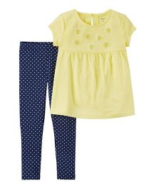 Carter's 2-Piece Floral Top & Polka Dot Legging Set - Yellow