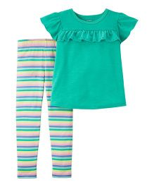 Carter's2-Piece Flutter Top & Striped Legging Set - Turquoise