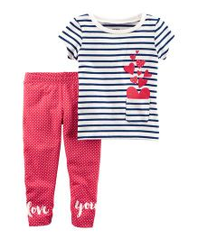 Carter's 2-Piece French Terry Top & Polka Dot Legging Set - Pink & White