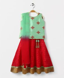 Bluebell Sleeveless Choli Checks Lehenga With Dupatta - Green & Pink