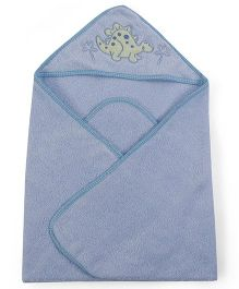 Owen Hooded Towel Dino Embroidery - Blue