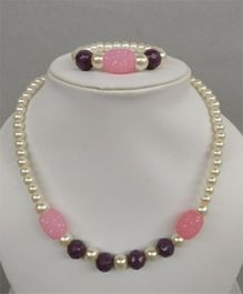 Tiny Closet  Pearl And Beads Necklace & Bracelet Set - Purple & Pink