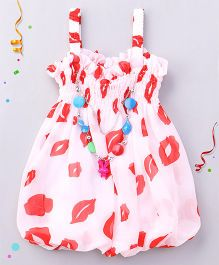 Party Princess Lip Print Top With Necklace - White