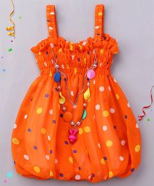 Party Princess Polka Print Top With Necklace - Orange