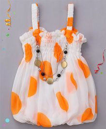 Party Princess Big Dots Printed Singlet Top With Necklace - White