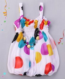 Party Princess Printed Top With Necklace - White