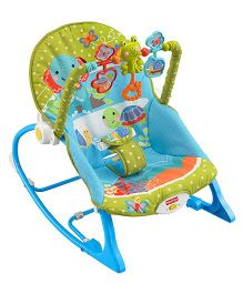Fisher Price Infant To Toddler Rocker Elephant Print - Blue