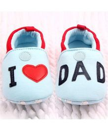 Wow Kiddos I Love Dad Design Booties - Light Blue