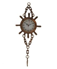 EZ Life Wooden Nautical Clock With Chain & Anchor - Brown