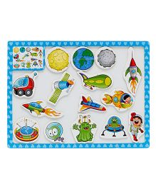EZ Life Kids Puzzle With Magnetic White Board - Blue & Multicolour