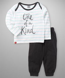 Mini Taurus Full Sleeves Stripe T-Shirt And BLounge Pants  Text Print - White Dark Grey