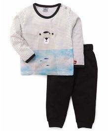 Mini Taurus  Full Sleeves Stripe T-Shirt And Bottoms Bear Print - Light Grey Black