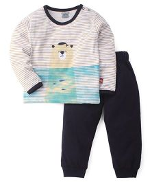 Mini Taurus  Full Sleeves Stripe T-Shirt And Bottoms Bear Print - Beige Black