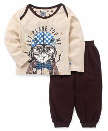 Mini Taurus Full Sleeves T-Shirt And Lounge Pants Animal Print - Cream Brown